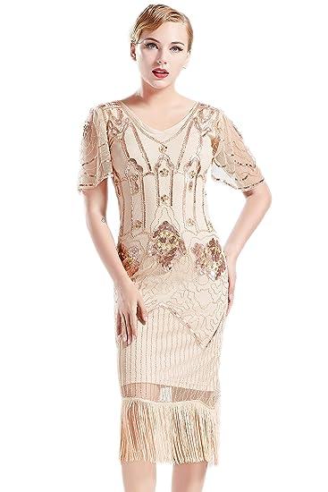 b8b14f60 Coucoland 1920s Flapper Dress Fringed Sequin Dress Roaring 20s Fancy Dress  Gatsby Costume Dress Vintage Beaded Evening Dresses: Amazon.co.uk: Clothing