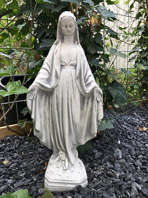Antikas - estatua María de piedra blanca - estatua como decoración cementerio tumba - escultura Madona para jardín: Amazon.es: Jardín