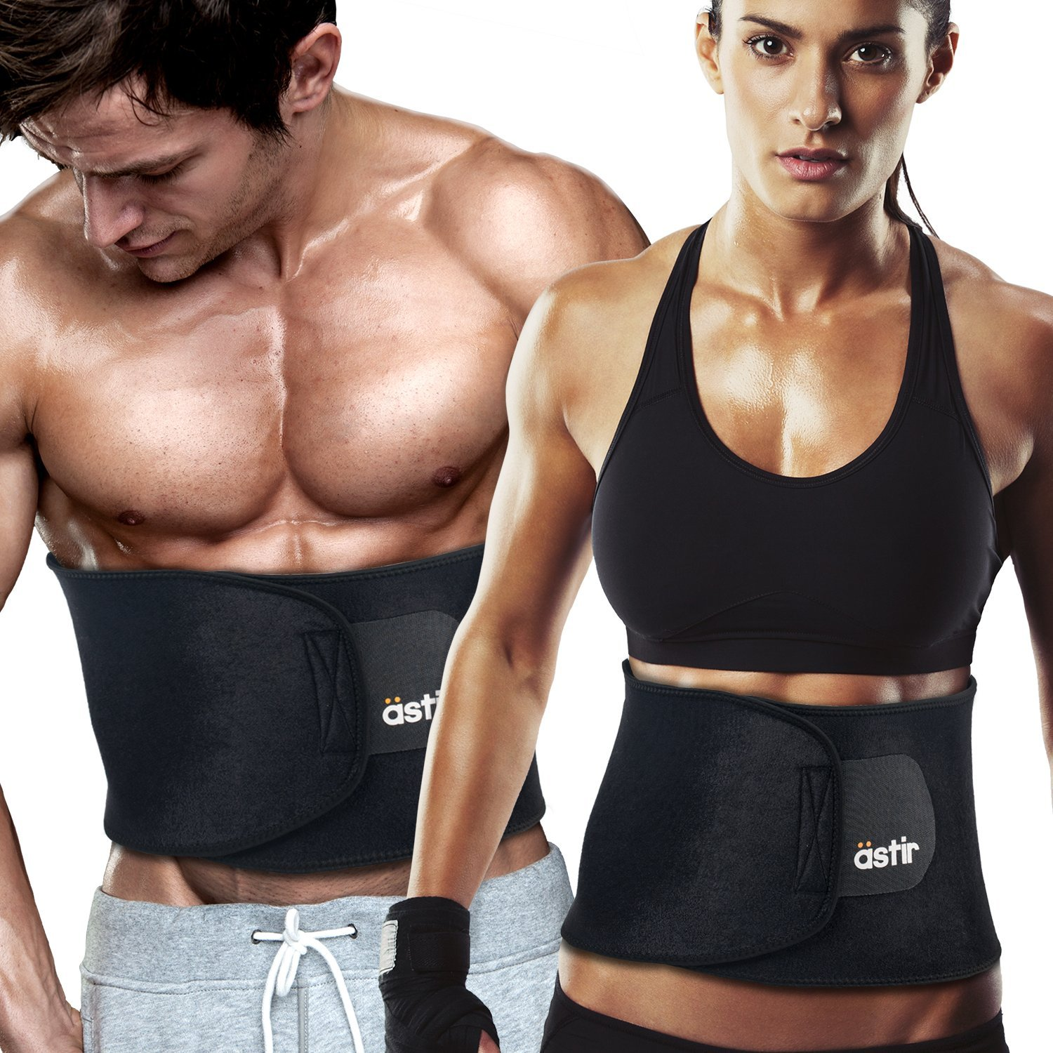 """Astir Waist Trimmer Ab Belt For Women & Men•Extra Long (44""""), Extra Wide (9""""), & Extra Flexible Sweat Belt with Maximum Abdominal Coverage•Non-Slip Surface for Max Waist Slimming•Lifetime Guarantee by Astir"""