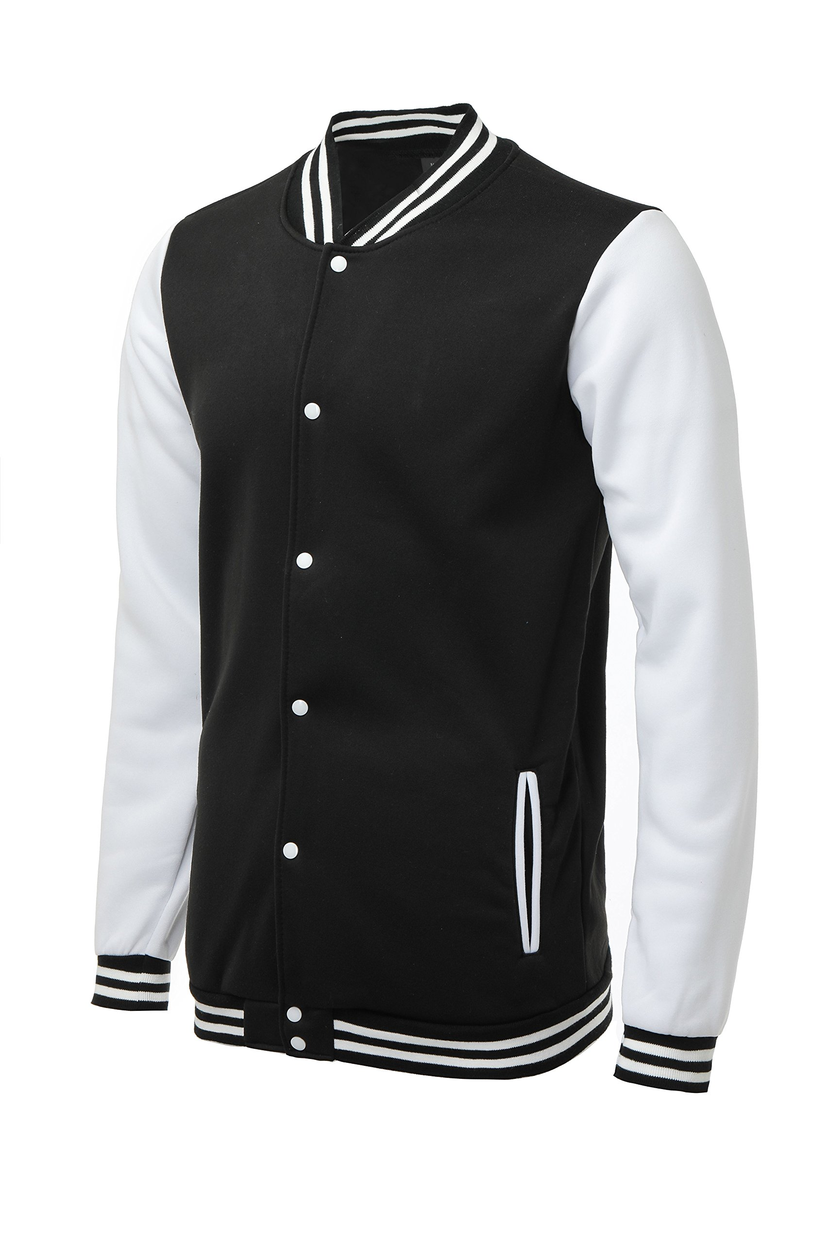 Trifuness Varsity Jacket Letterman Jacket Baseball Jacket With Long Sleeve Banded Collar Black Large by Trifuness