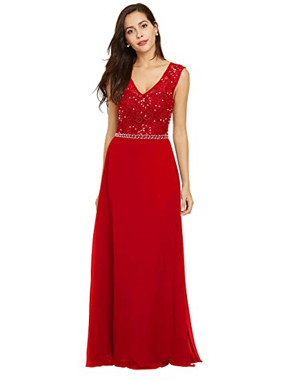 Sisjuly Womens Beaded Lace Chiffon Prom A-line V Neck Evening Dresses 4 Red