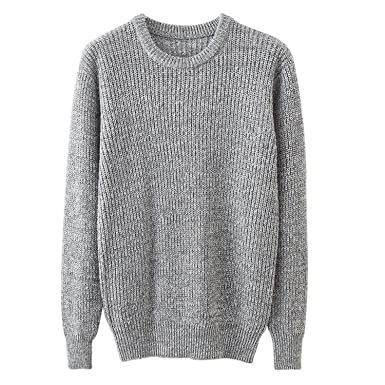 B dressy Men's Solid Sweater Slim Fit Round Neck Sweaters ...