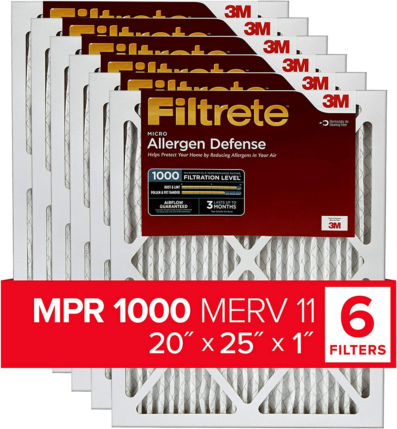 Made in USA 25 Nom Height x 29 Nom Width x 4 Nom Depth Synthetic Wire-Backed Pleated Air Filter 6 Pack