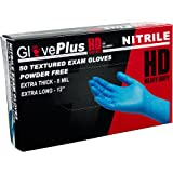 AMMEX - GPNHD68100-BX - HD Nitrile Gloves - GlovePlus - Disposable, Powder Free, Exam, 8 mil, XLarge, Blue (Box of 50)
