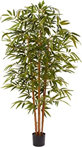 Home Pure Garden 6 Ft. Artificial Bamboo – Tall Faux Potted Indoor Floor Plant for Restaurant or Office Decor – Large and Lifelike (Natural Trunk)