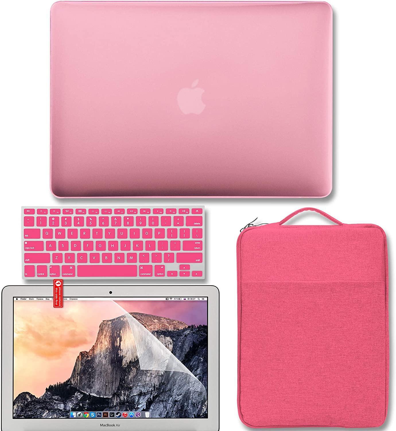 GMYLE MacBook Air 13 Inch Case A1466 A1369 2010-2017 4 in 1 Bundle, Hard Plastic Shell Cover, Carrying Sleeve Bag, Screen Protector and Keyboard Cover Compatible with Old MacBook Air 13 inch, Pink