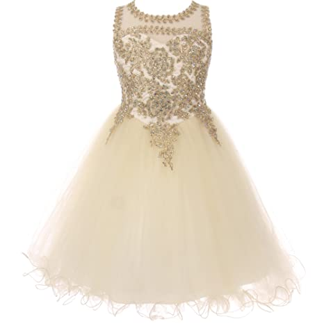 Review CrunchyCucumber Gold Trimmed Corset Back Closure Wired Tulle Skirt Flower Girl Dress