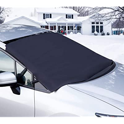 OxGord Windshield Snow Cover Ice Removal Wiper Visor Protector All Weather Winter Summer Auto Sun Shade for Cars Trucks Vans and SUVs Stop Scraping with a Brush or Shovel: Automotive