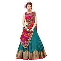 Prabhuta Enterprise Women's banglory silk Lehanga Choli(PE689 firozi and pink Free Size)