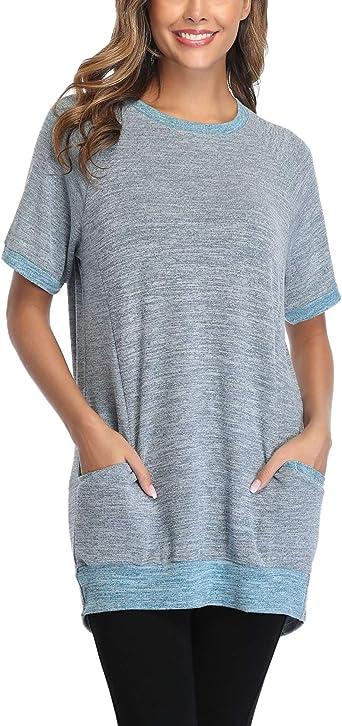 Sykooria Camiseta de Manga Corta para Mujer Blusa Cuello Redondo Camisa básica Casual Suelto Pullovers Tops de Verano Jerséis para Señoras con ...