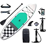 Aqua Plus 10ft6inx33inx6in Inflatable SUP for All Skill Levels Stand Up Paddle Board, Adjustable Paddle,Double Action Pump,IS