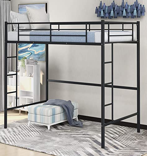 Danxee Two-Side Ladders Modern Metal Pipe Twin Size Loft Kids Bunk Bed Bedroom Storage Guard Rail Ladder Black
