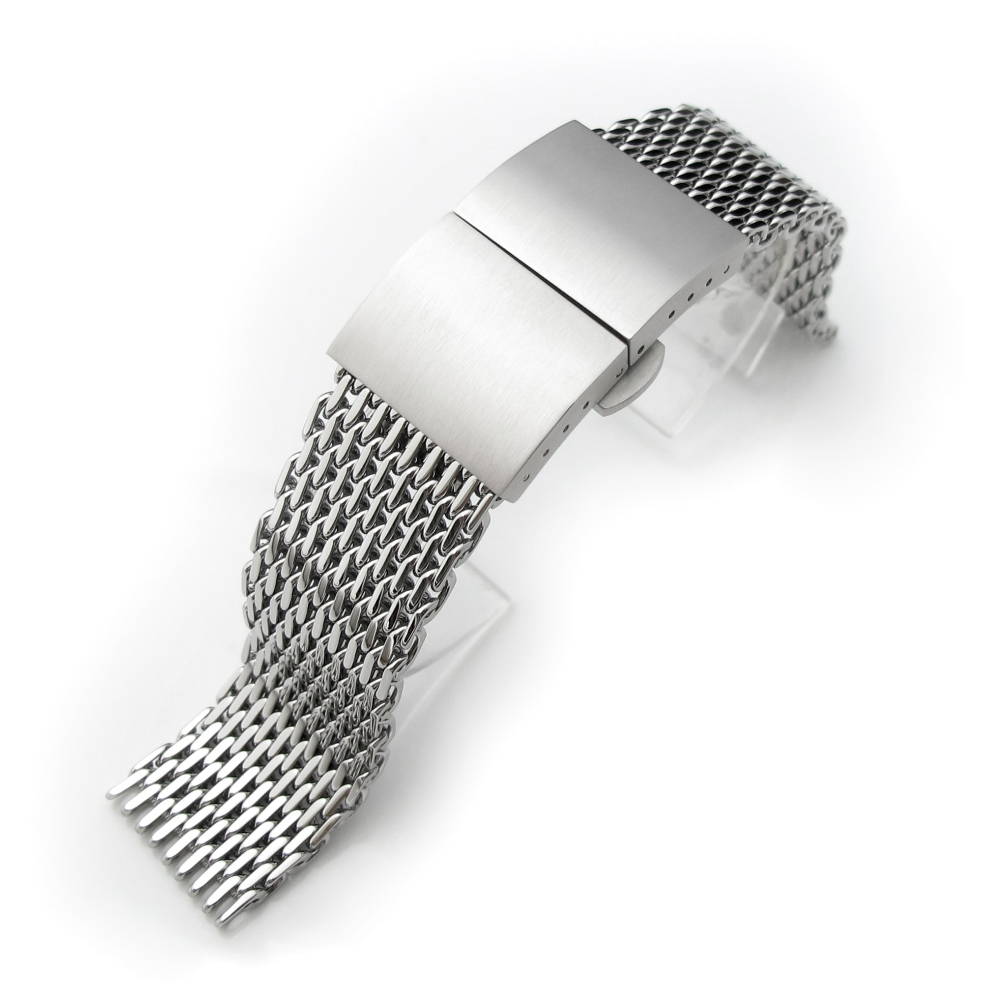 20mm Ploprof 316 SS Wire ''SHARK'' Mesh Milanese Watch Band, Dome Deployant, Polished, BB