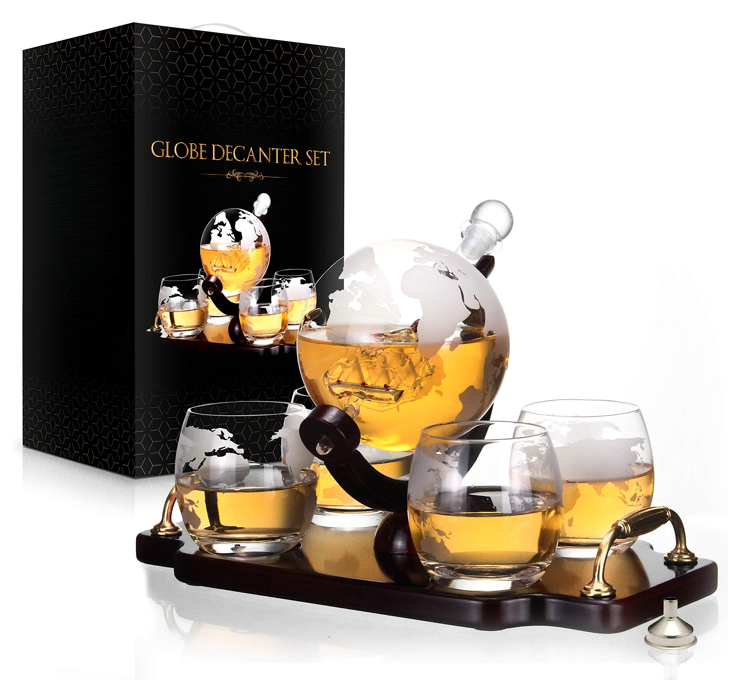 Whiskey Decanter Set World Etched Globe Decanter Antique Ship Glasses Bar Pour Funnel Stopper Liquor Dispenser Spirits Scotch Bourbon Vodka Rum Wine Tequila Brandy Perfect Gift 850 ml by flybold