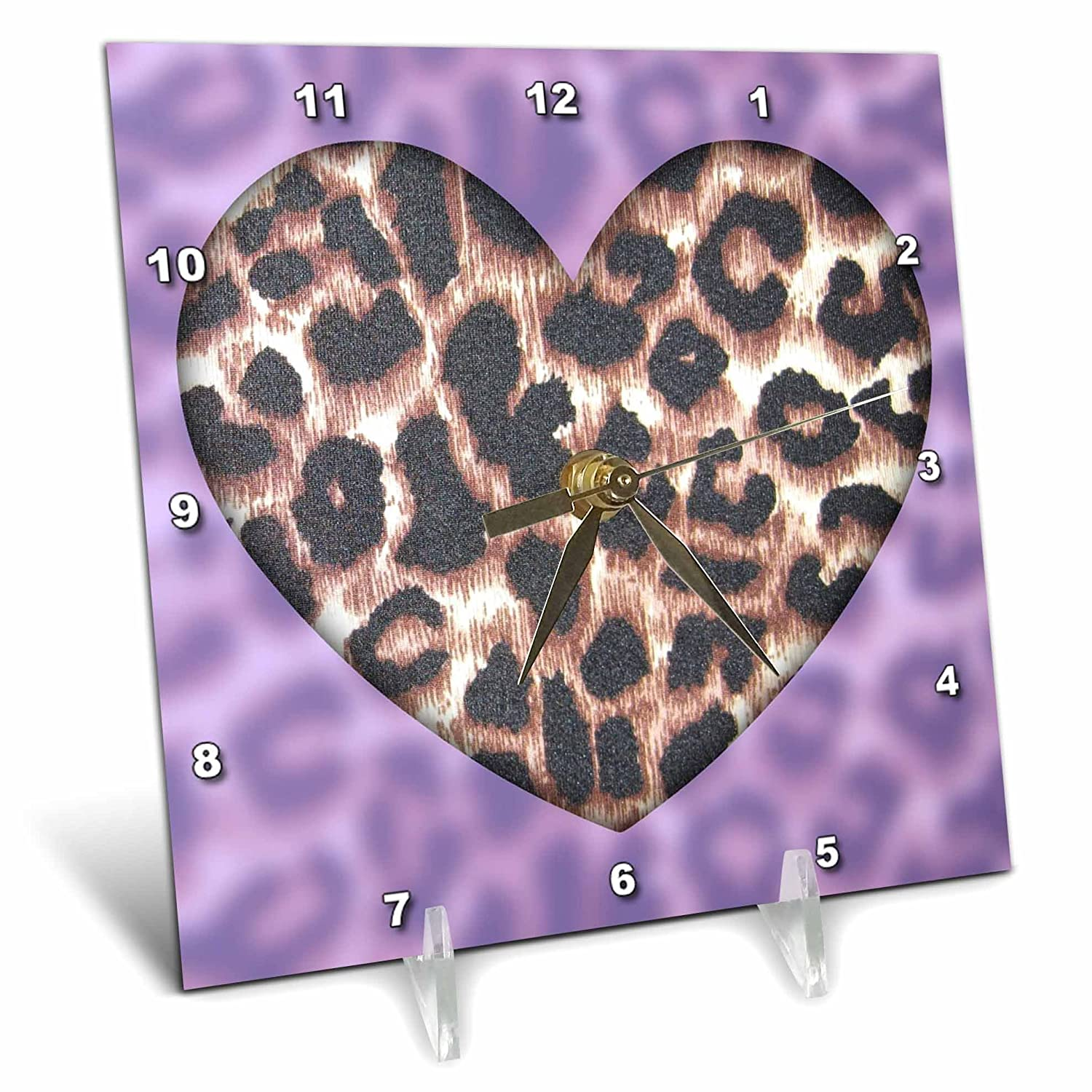 6 by 6-Inch 3dRose dc/_30868/_1 Lavender and Brown Leopard Print Heart Fashion-Desk Clock