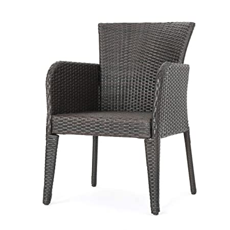 Great Deal Furniture 295948 Set of 2 Seawall Outdoor Wicker Dining Chair, Brown