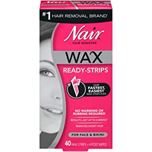 Nair Hair Remover Wax Ready-Strips for Face & Bikini, 40 CT