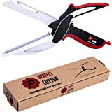 Perfect Cutter 5 in 1 Knife Scissor with Cutting Board and Knife Sharpener - Food Chopper Slicer Cutter - Kitchen Knife - Equipped with a Power Handle to Slice, Chop, Cut Through Food Quickly