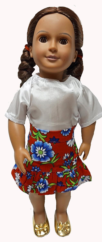 Amazon.es: Doll Clothes Superstore Falda roja de Flores Blancas y ...