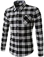 TheLees Mens Casual Long Sleeve Stripe Patch Checker Shirts