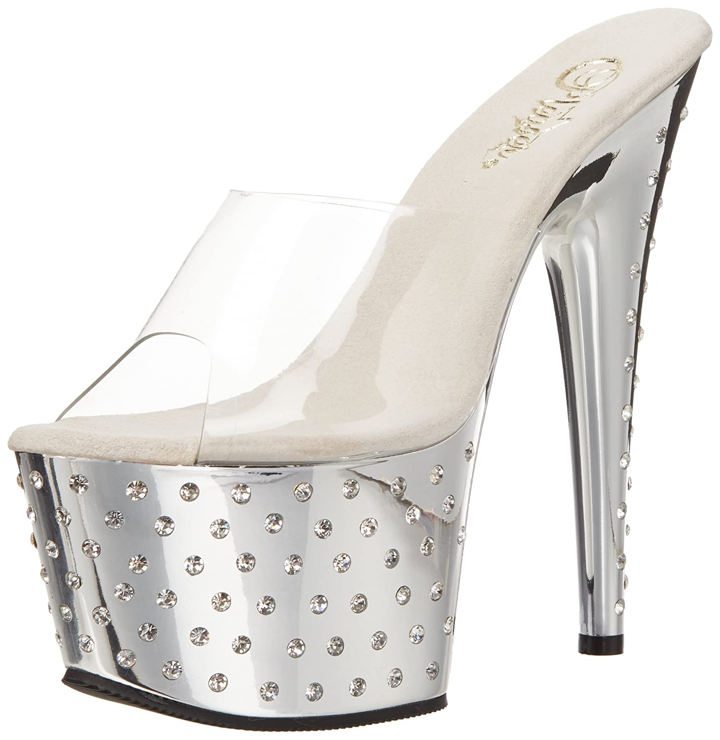 Pleaser Women's Stardust-701 Sandal B004JHH90E 9 M US|Clear/Silver Chrome