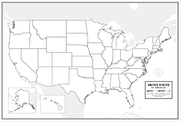 """Large Blank United States Outline Map Poster, Laminated, 36"""" x 24"""" 