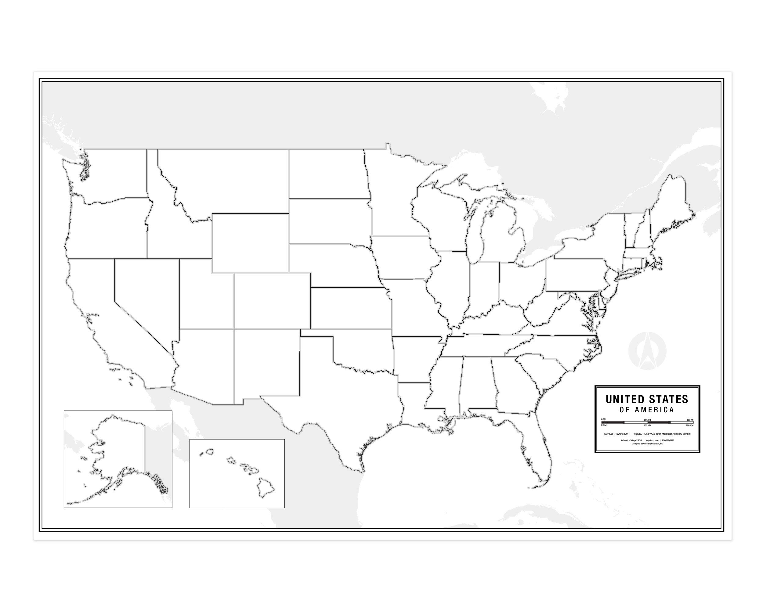 Large Blank United States Outline Map Poster, Laminated, 36'' x 24'' | Great Blank Wall Map for Classroom or Home Study | Free Dry Erase Marker Included | Includes Detailed Laminated Answer Sheet by South of Kings