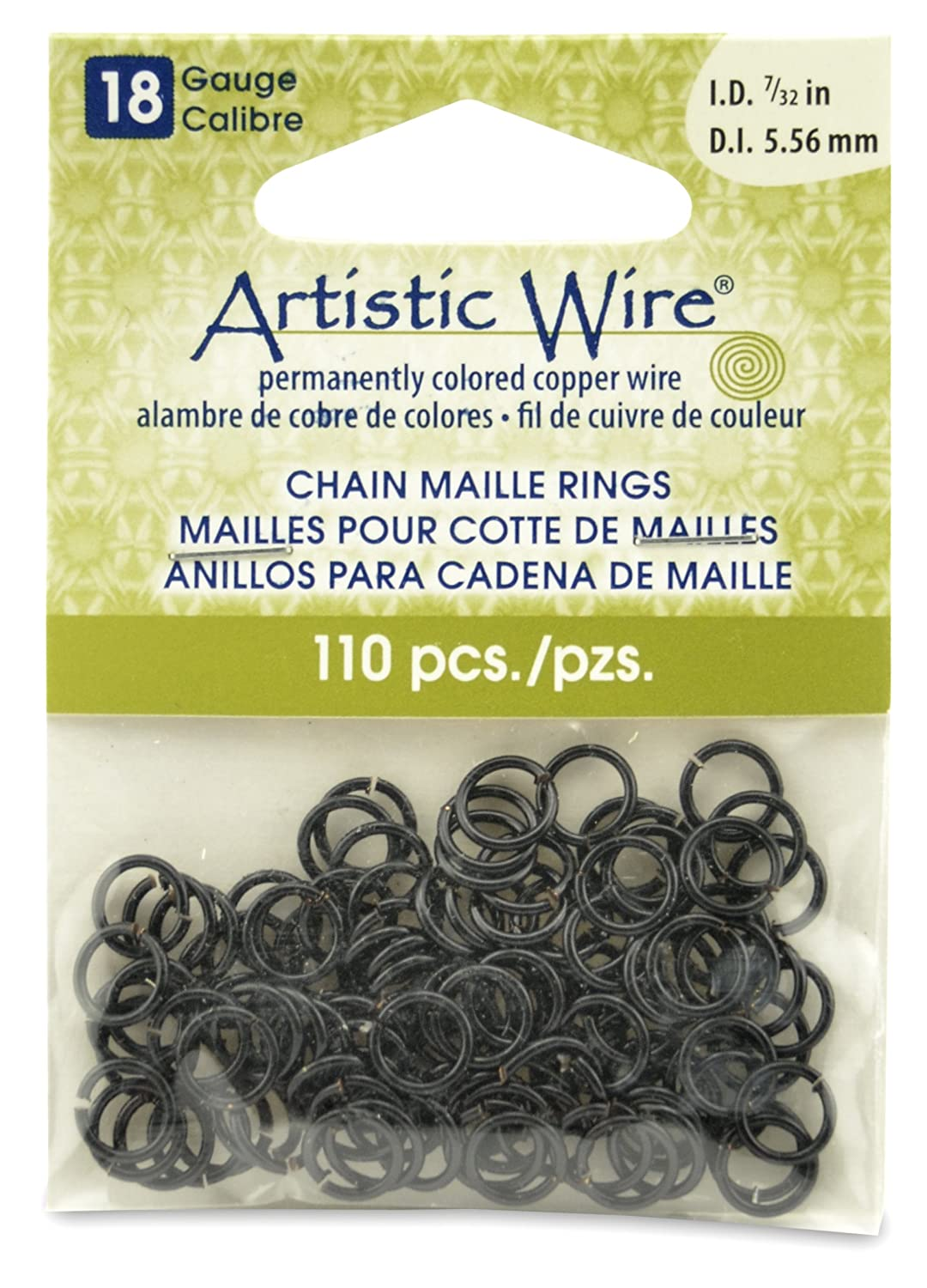 Artistic Wire Beadalon 7/32-inch 110 Piece 18-Gauge Chain Maille Rings, Black A314-18-02-09