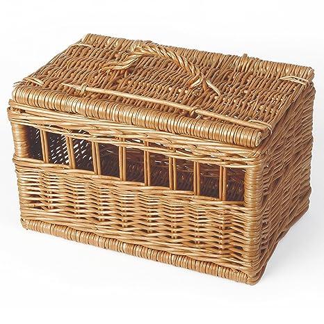 Caja de transporte de mimbre pelado Animales cesta para ...