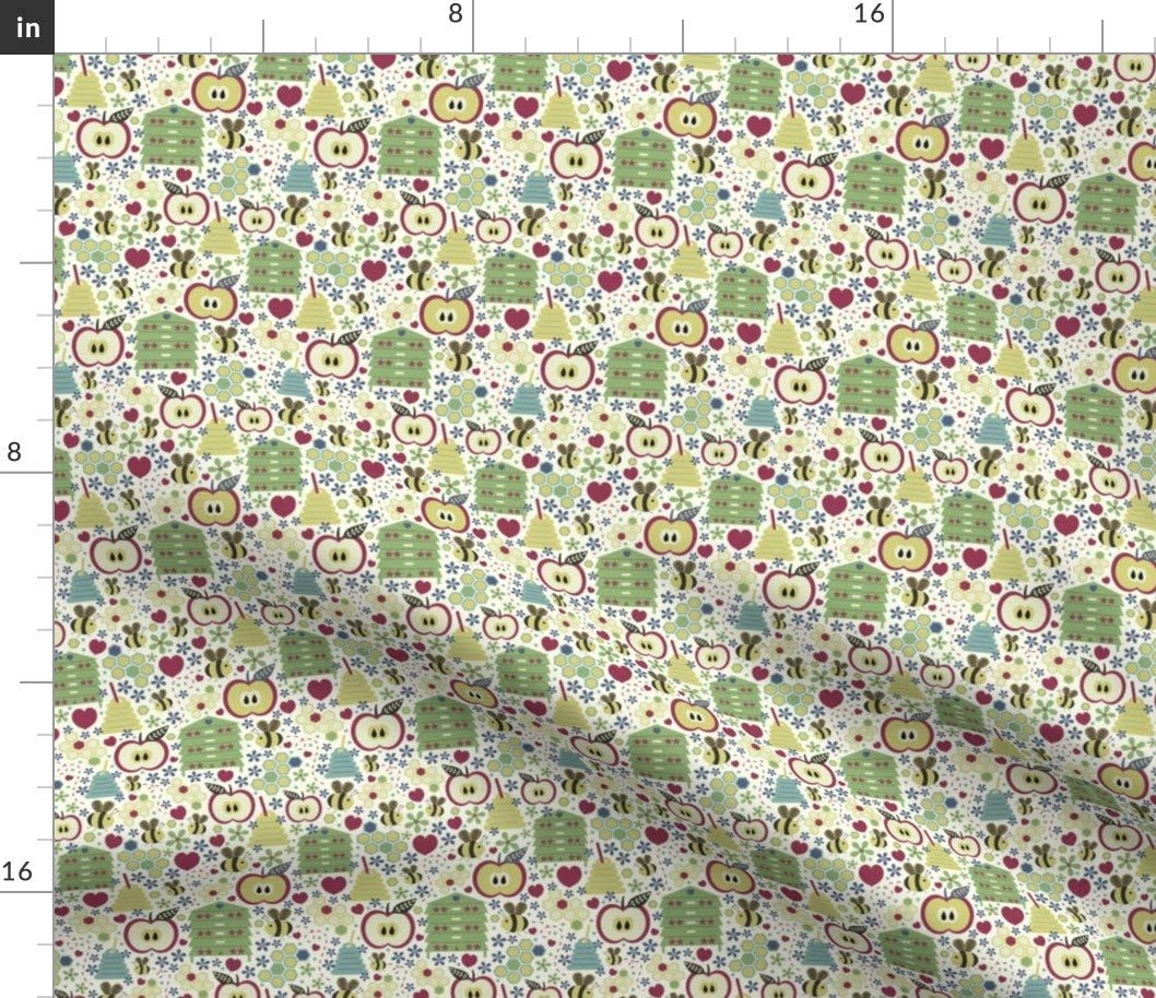 Spoonflower Fabric - Year Apples Honey Beehive Bees Printed on Fleece Fabric by The Yard - Sewing Blankets Loungewear and No-Sew Projects