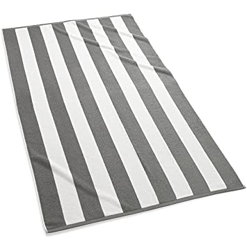 Amazoncom Kassatex Cabana Stripe Beach Towels Set of 2 Grey