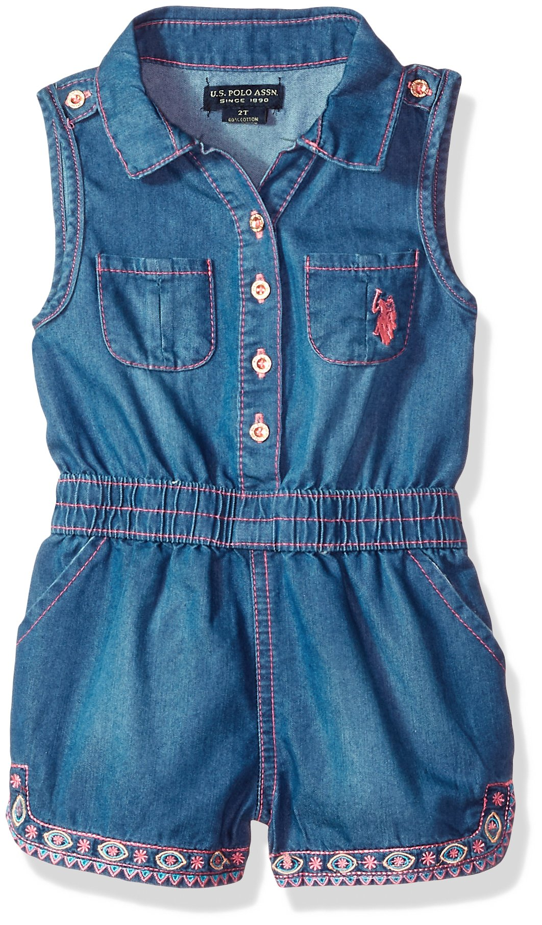 U.S. Polo Assn.. Toddler Girls' Romper, Button Front Neon Pink Embroidery Medium Wash, 2T