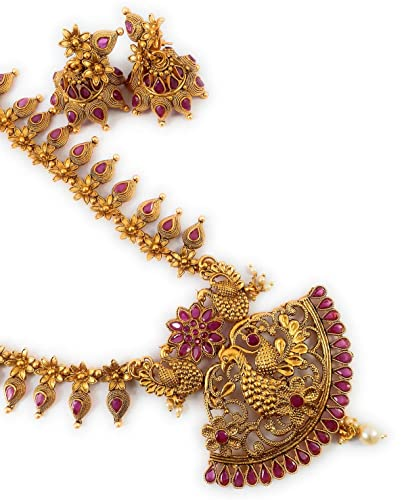 b0db150094 Buy SUKRA GOLD 1 Gram Micro Gold Plated South Indian Traditional Fashion  Jewellery Matte Long Haram Sets for Women & Girls Online at Low Prices in  India ...