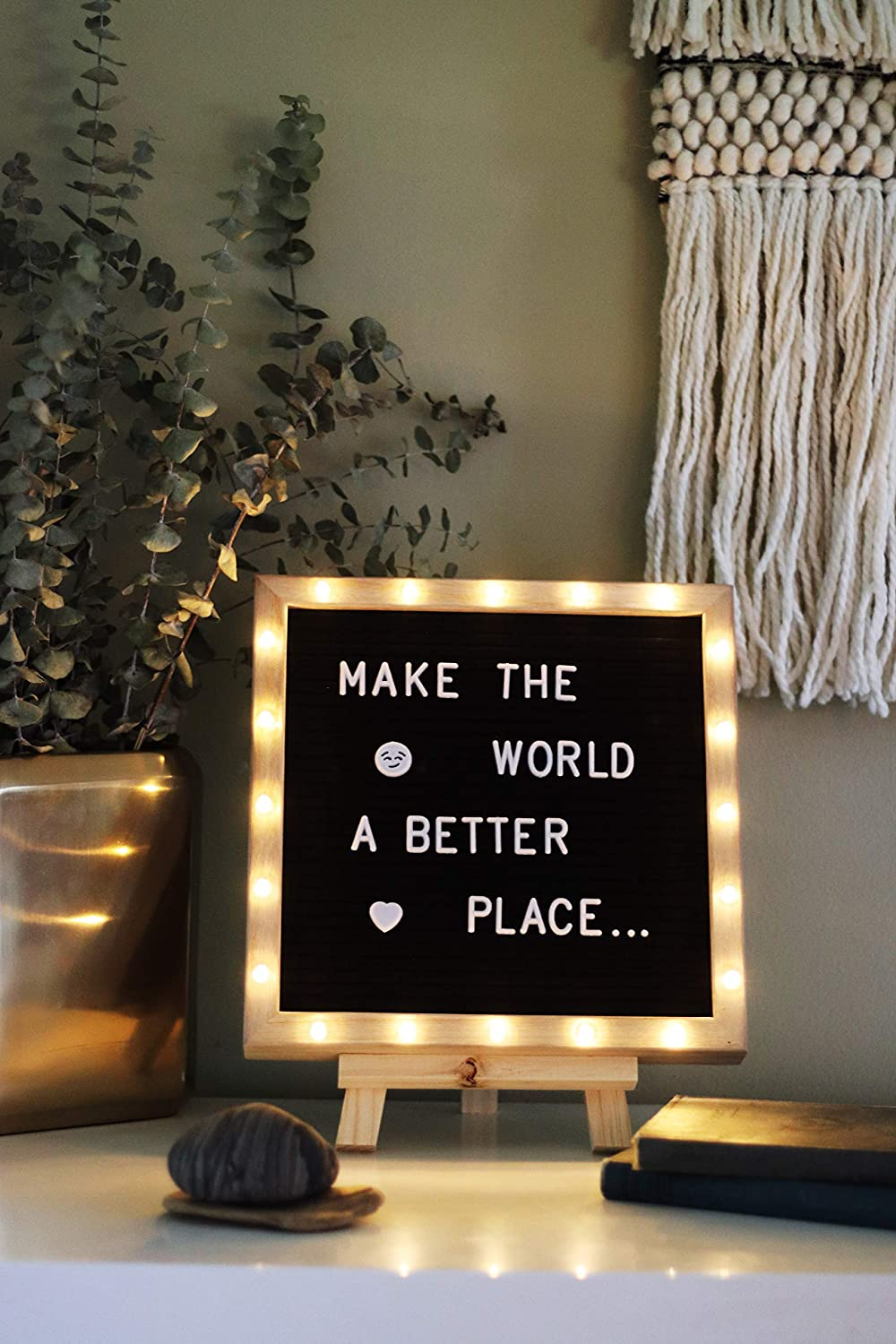 Amazon.com : Premium Felt Letter Board with 20 Built-in LED ...