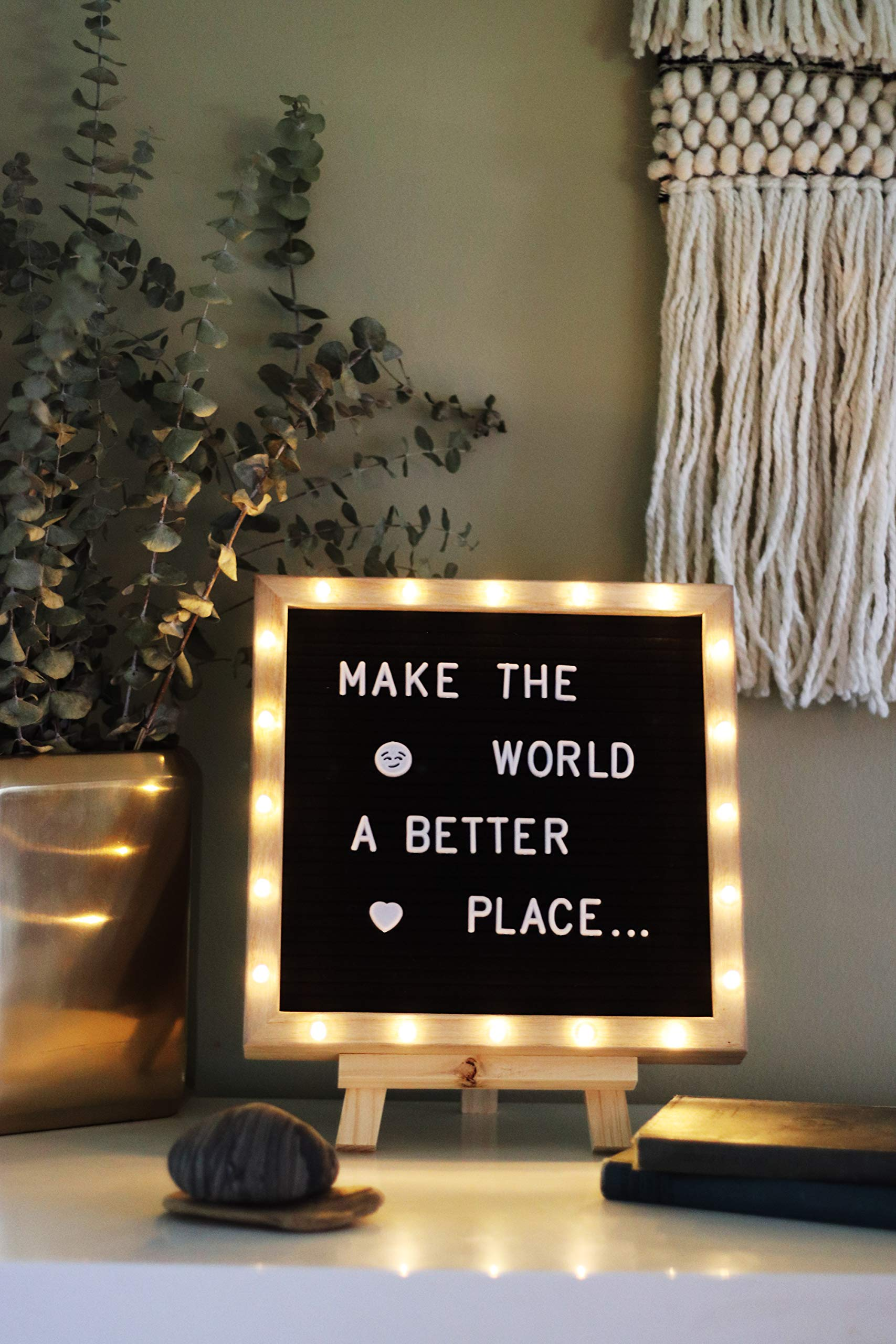 Felt Letter Board with 20 Built-in LED Lights, 10 x 10 Black, with Wood Frame, Stand, Hook Mount, Changeable Characters, Numbers, Symbols, Emojis in Gift Box