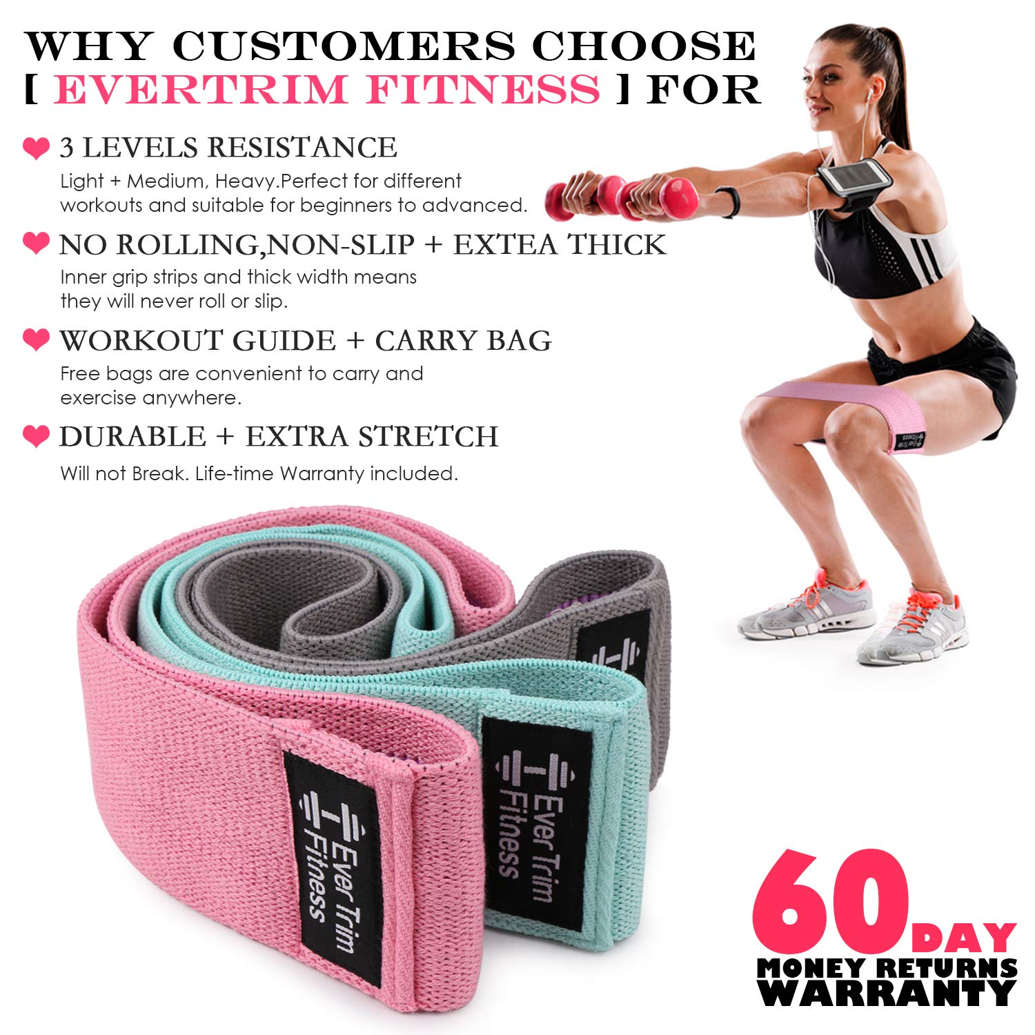 Resistance Exercise Bands for Legs and Butt,Booty Bands Hip Bands Wide Workout Bands Sports-Fitness Bands Stretch Resistance Loops Band Anti Slip Elastic Set 3