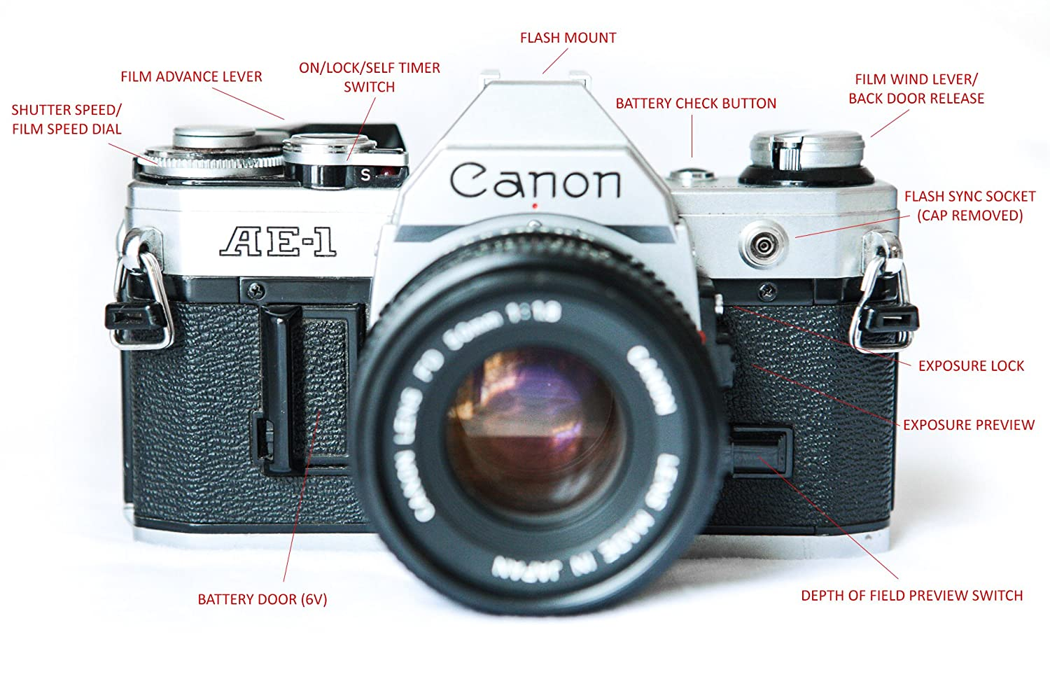 Amazon.com : Canon AE 1 35mm Film Camera W/ 50mm 1:1.8 Lens : Camera U0026 Photo