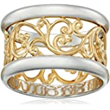 Rhodium Plated Sterling Silver Two-Tone Filigree Band Ring