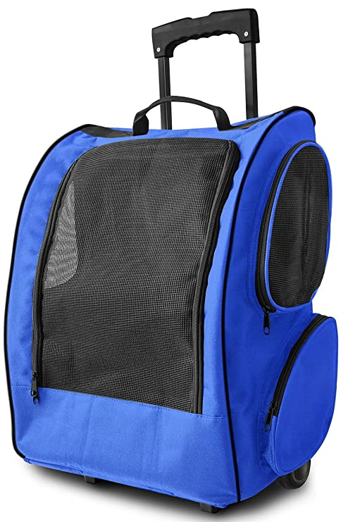 bf06adf765af Image Unavailable. Image not available for. Color  Marketworldcup Pet  Carrier Dog Cat Rolling Back Pack Travel Airline Wheel Luggage ...