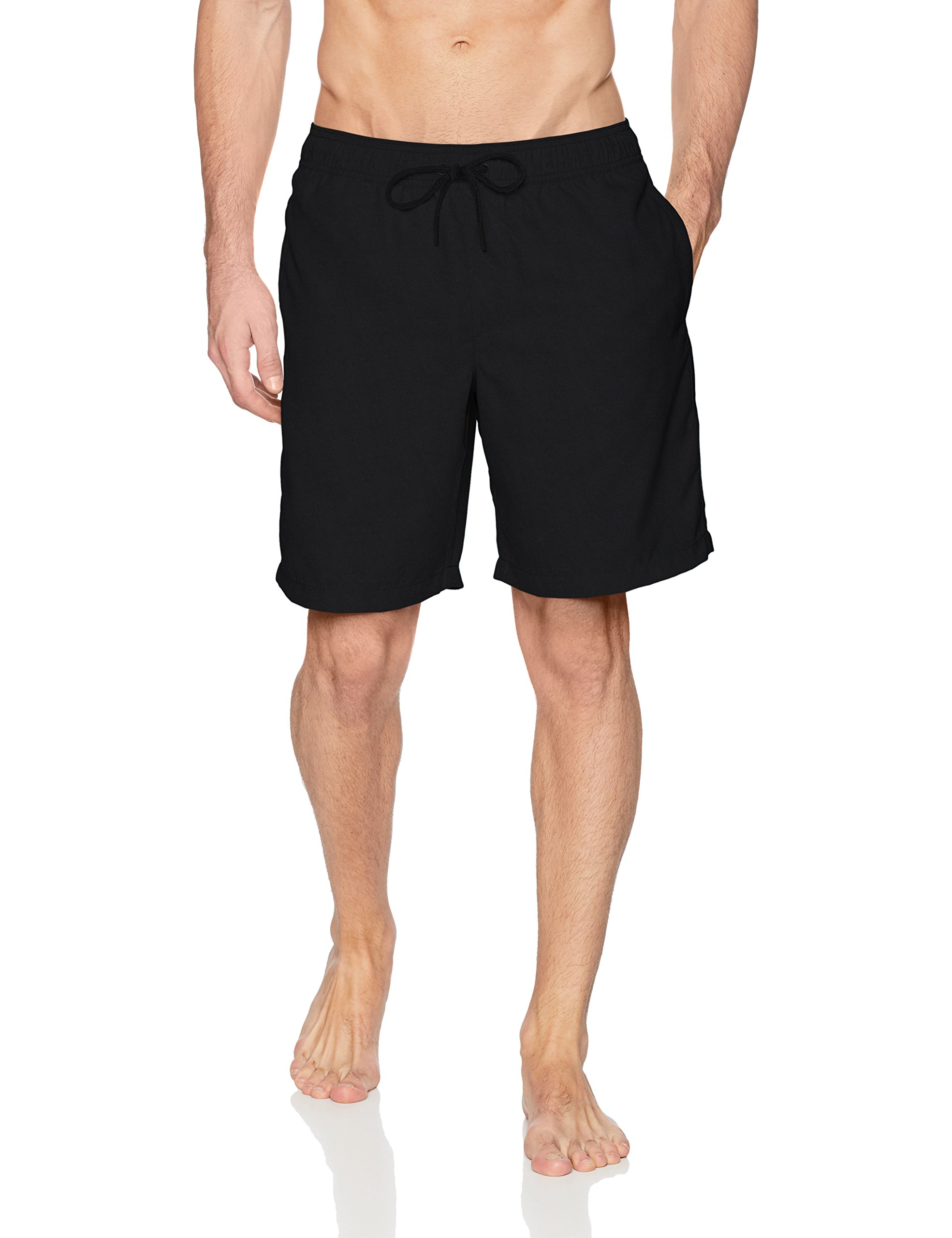 Amazon Essentials Men's Quick-Dry Solid 9'' Swim Trunk, Black, Medium