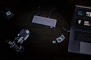 Elgato Thunderbolt 3 Pro Dock - With 50 cm Thunderbolt cable, 40Gb/s, dual 4K support, 2x Thunderbolt 3 (USB- C), 4x USB 3.0,SD/Micro SD Card Reader, Audio I/O, Gigabit Ethernet, aluminum chassis.