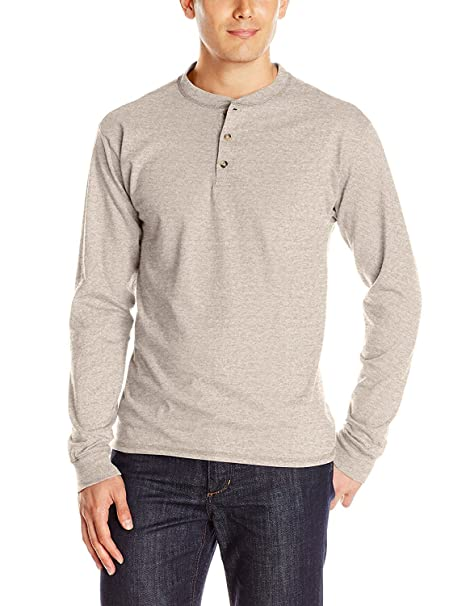 b6316d9be650 Image Unavailable. Image not available for. Color: Hanes Men's Long-Sleeve  BEEFY Henley Shirt_pebblestone Heather_3XL
