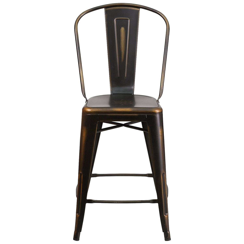 Amazon Flash Furniture 24 High Distressed Copper Metal