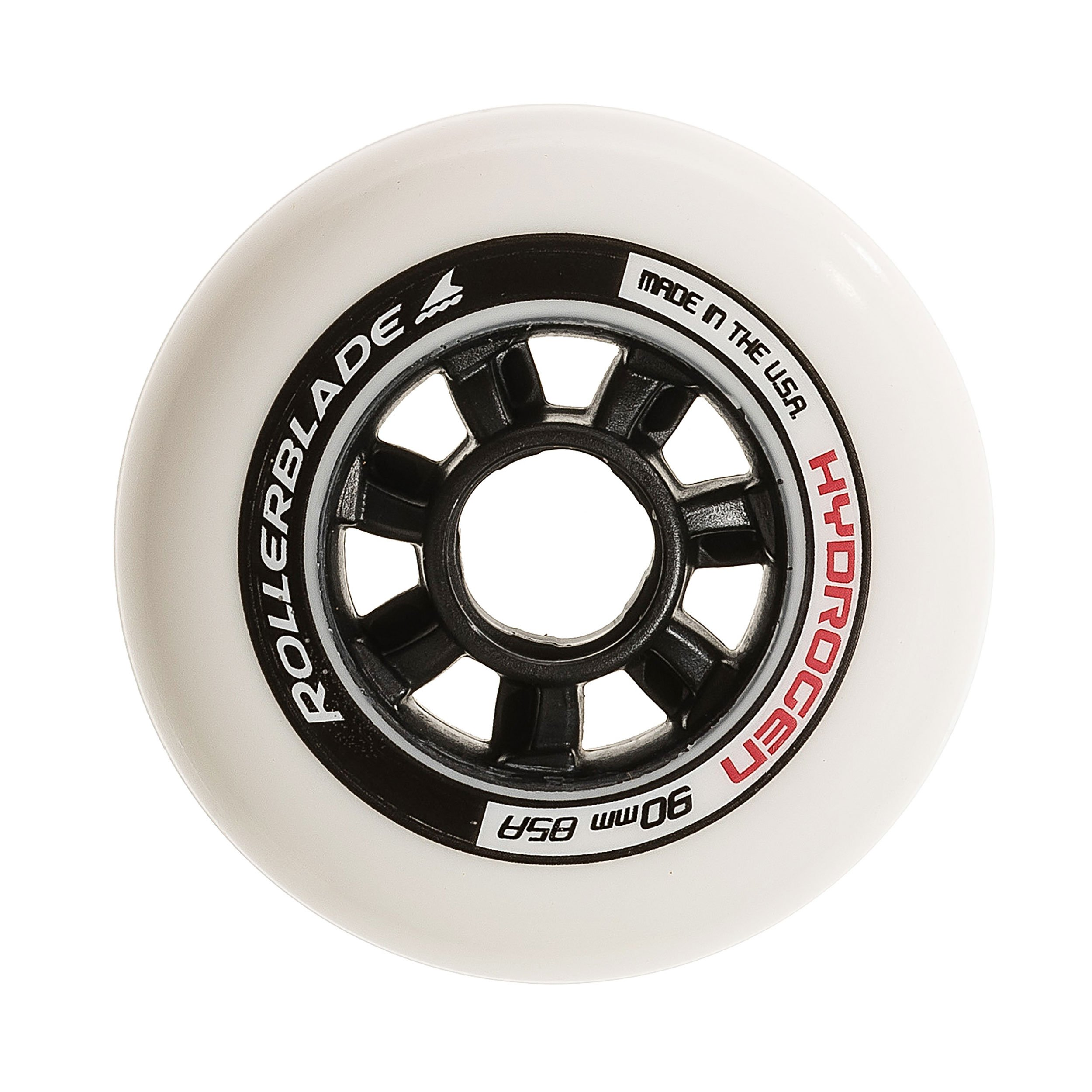 Rollerblade Hydrogen 90mm 85A Wheels (8 Pack), White, One Size by Rollerblade