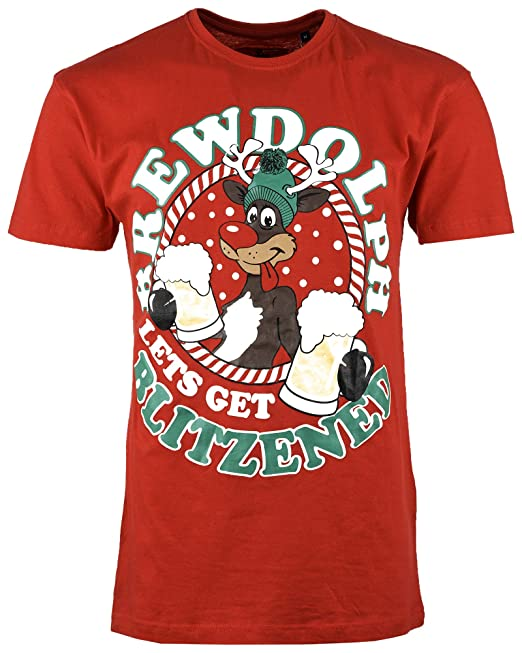 04e82cc4 Mens Christmas T Shirt Xmas Novelty Gift Printed Cotton Tshirt Short  Sleeves: Amazon.co.uk: Clothing