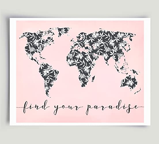 Amazon typography world map tropical palm leaf art black white typography world map tropical palm leaf art black white pink unframed paper print gumiabroncs Image collections