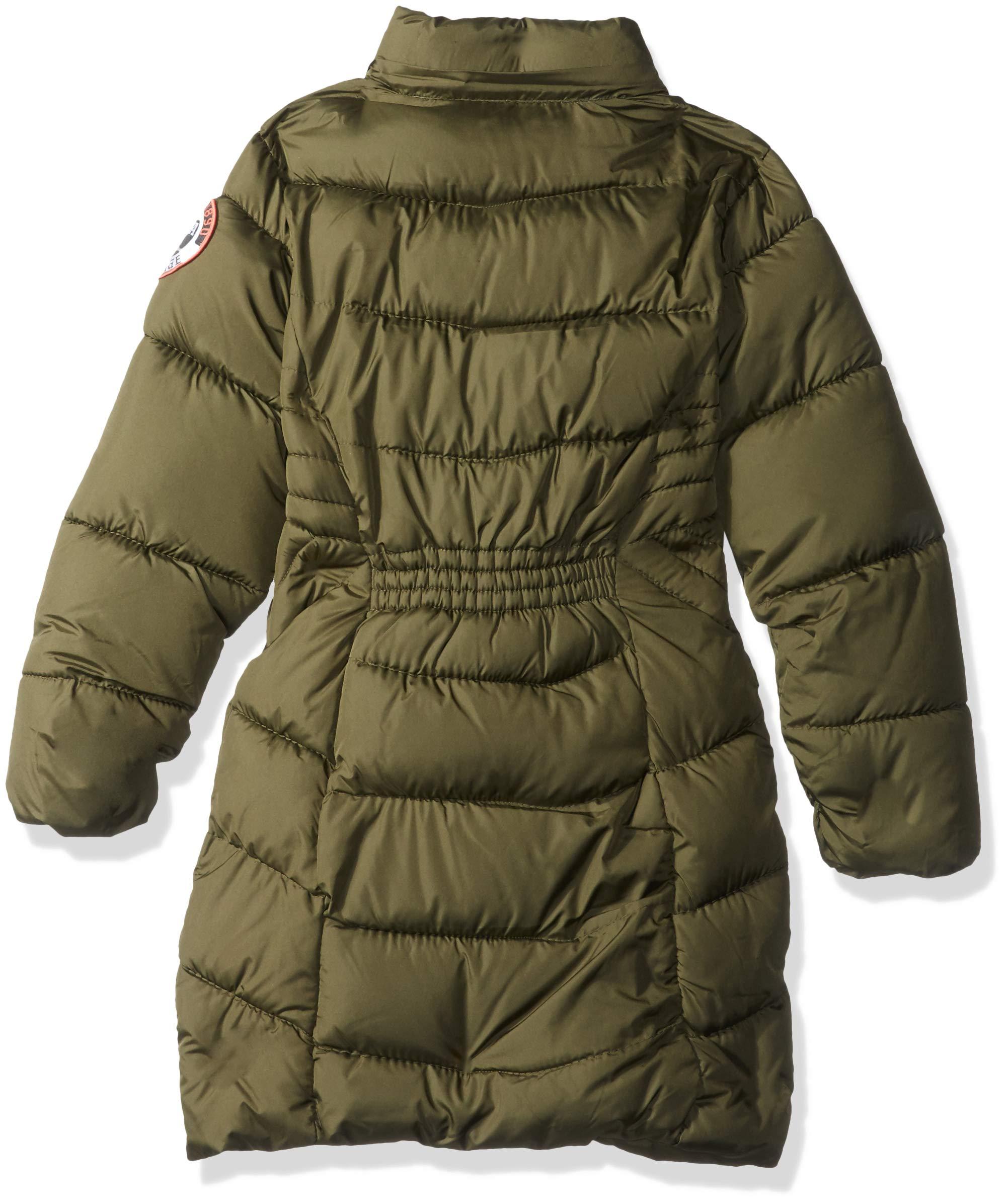 US Polo Association Girls' Big Long Bubble Jacket, Olive, 10/12 by U.S. Polo Assn. (Image #2)