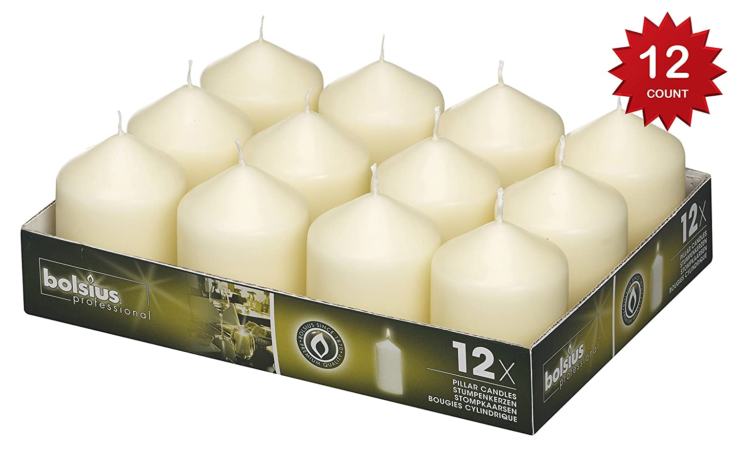 Bolsius Tray of 12 Ivory Pillar Candles 78 x 58 mm (aprox 3 x 2.3 inch)