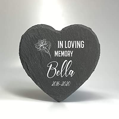 TULLUN Personalized Memorial Heart Shape Plaque for Pet Cat Dog Slate Stone Frame Paw Grave Marker - in Loving Memory - Size |10 x 10 cm| : Pet Supplies