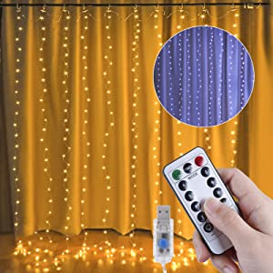 Anpro 300 LEDs Curtain Light with Remote Control- USB Plug in , Timing, Multiple Lighting Modes LED String Lights, Wedding Party Christmas Lights Home Garden Bedroom Outdoor Indoor Decoration